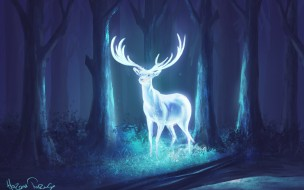 фэнтези, призраки, олень, фэнтази, ночь, арт, рога, лес