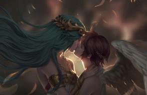 ангел, арт, Pit, крылья, Chuby Mi, поцелуй, фэнтези, пара