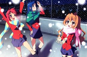 аниме, toradora, снег, радость, форма, шарфы, девушки