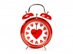 праздничные, день святого валентина,  сердечки,  любовь, будильник