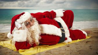 праздничные, дед мороз,  санта клаус, пляж, санта