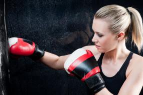 бокс, спорт, перчатки, девушка, тренировка
