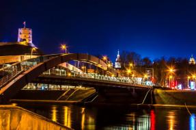 города, клайпеда , литва, вечер, мост, башня, река