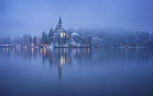 зима, туман, озеро