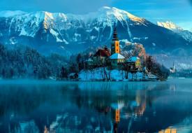города, блед , словения, горы, зима, озеро
