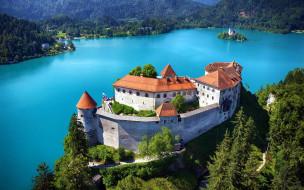 города, блед , словения, замок, озеро