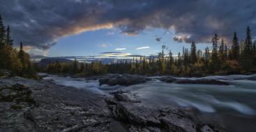 тучи, лес, камни, река, небо