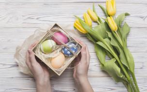 яйца, пасха, цветы