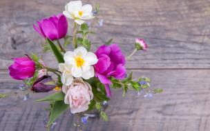 spring, букет, тюльпаны, бутоны, pink, цветы, flowers, wood, colorful, весна, tulips