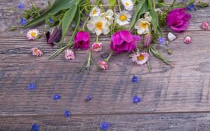 весна, colorful, бутоны, flowers, лента, букет, spring, pink, wood, цветы