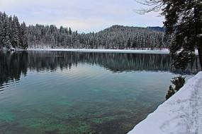 лес, озеро, горы, снег, деревья