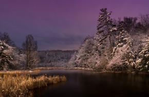 озеро, природа, ночь