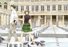 обои для рабочего стола 3000x2061 аниме, nodame cantabile, пара, девушка, парень, дворец, здание, голуби