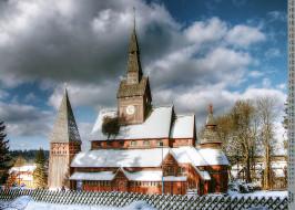 религия, деревья, здание, снег