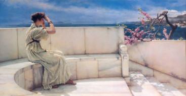 скамейка, мрамор, ступени, дерево, женщина, море