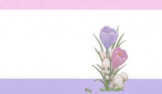 рисованное, животные,  зайцы,  кролики, весна, крокус, зайчик, арт, детская, пасха, минимализм