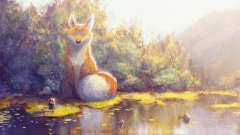 осень, лиса, fantasy, арт