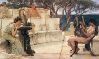 парень, мрамор, скамейка, певец, арфа, деревья, море, женщины