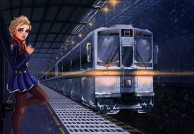 девушка, фон, взгляд, поезд
