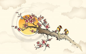 цветение, весна, сакура, ветка, птицы