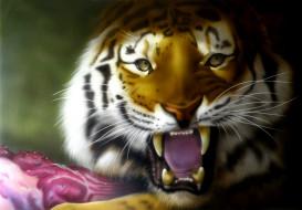 рисованное, животные, фон, оскал, тигр