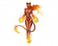 девушка, фон, существо, огонь