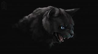 пасть, черный кот, art, злобный взгляд, тьма