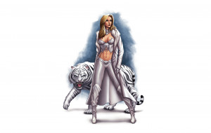 девушка, фон, тигр
