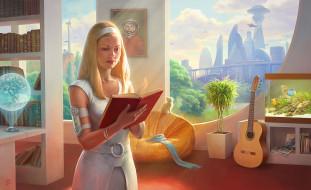 фэнтези, девушки, комната, космоc, девушка, с, земли, гагарин, город, будущего, ссср-2061