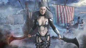 женщина, Valkyria, корабли, оружие