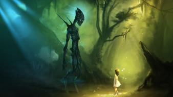 чудовище, деревья, девочка, лес