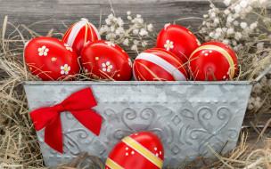 праздничные, пасха, яйца, сено, крашенки, бант