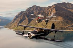 обои для рабочего стола 2048x1366 авиация, лёгкие одномоторные самолёты, пейзаж, биплан, полет, горы, de, havilland, dh89, dragon, beech, c-17b, staggerwing