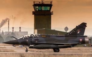 sunset, французские ВВС, French Air Force, истребитель, mirage 2000D, аэропорт, military airfield, french fighter