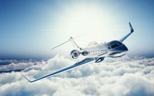 passenger airplane, bombardier aerospace, административный самолет, private jet, 4k, learjet 45