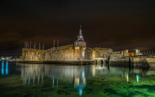 города, - дворцы,  замки,  крепости, франция, коммуна, конкарно, крепость, у, воды, ночью