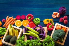 мята, морковь, перец, помидоры, бананы, авокадо