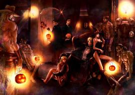 праздничные, хэллоуин, тыквы, кресло, монстры, коса, демон, доспех, мумия, шляпа, комната, череп