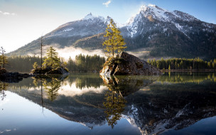 озеро, отражение, горы