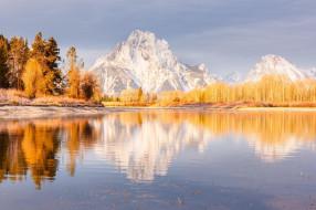 озеро, осень, небо, деревья, снег, горы