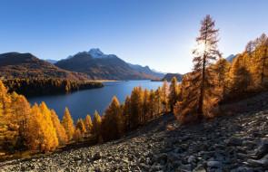 осыпь, озеро, горы, деревья, лес, осень, камни