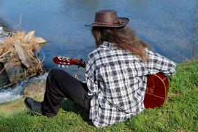 растения, шляпа, гитара, водоем