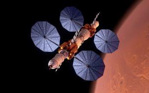 космос, космические корабли,  космические станции, космическая, станция, рядом, с, планетой, марс