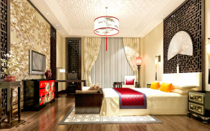 interior bedroom, bedroom, комната, китай, chinese style, china, интерьер, interior design