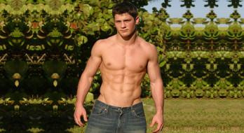 мужчины, - unsort, сад, тело, джинсы, парень