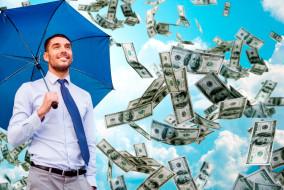 зонтик, купюры, доллары