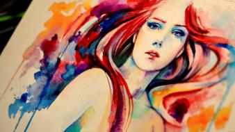 рисунок, рыжая, холст, живопись, акварель