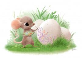 детская, Sydney Hanson, арт, праздник, пасха, яйцо, мышка, мазанка