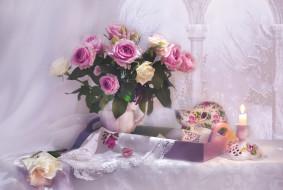 свеча, вышивка, букет, розы, чашка