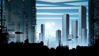 силуэт, город, by kvacm, будущее, человек